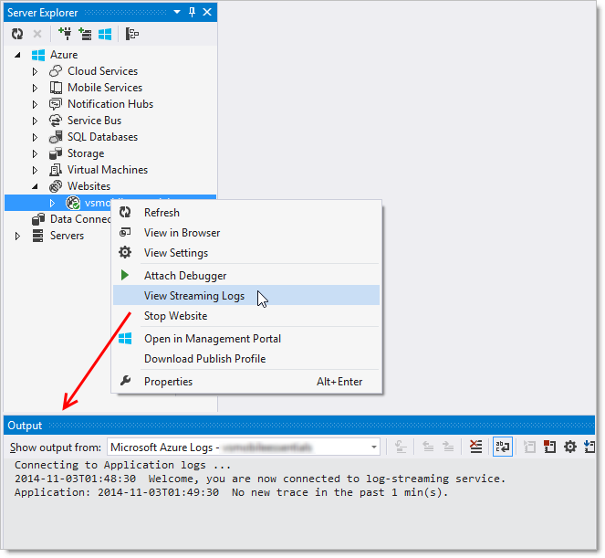 Azure streaming logs inside Visual Studio