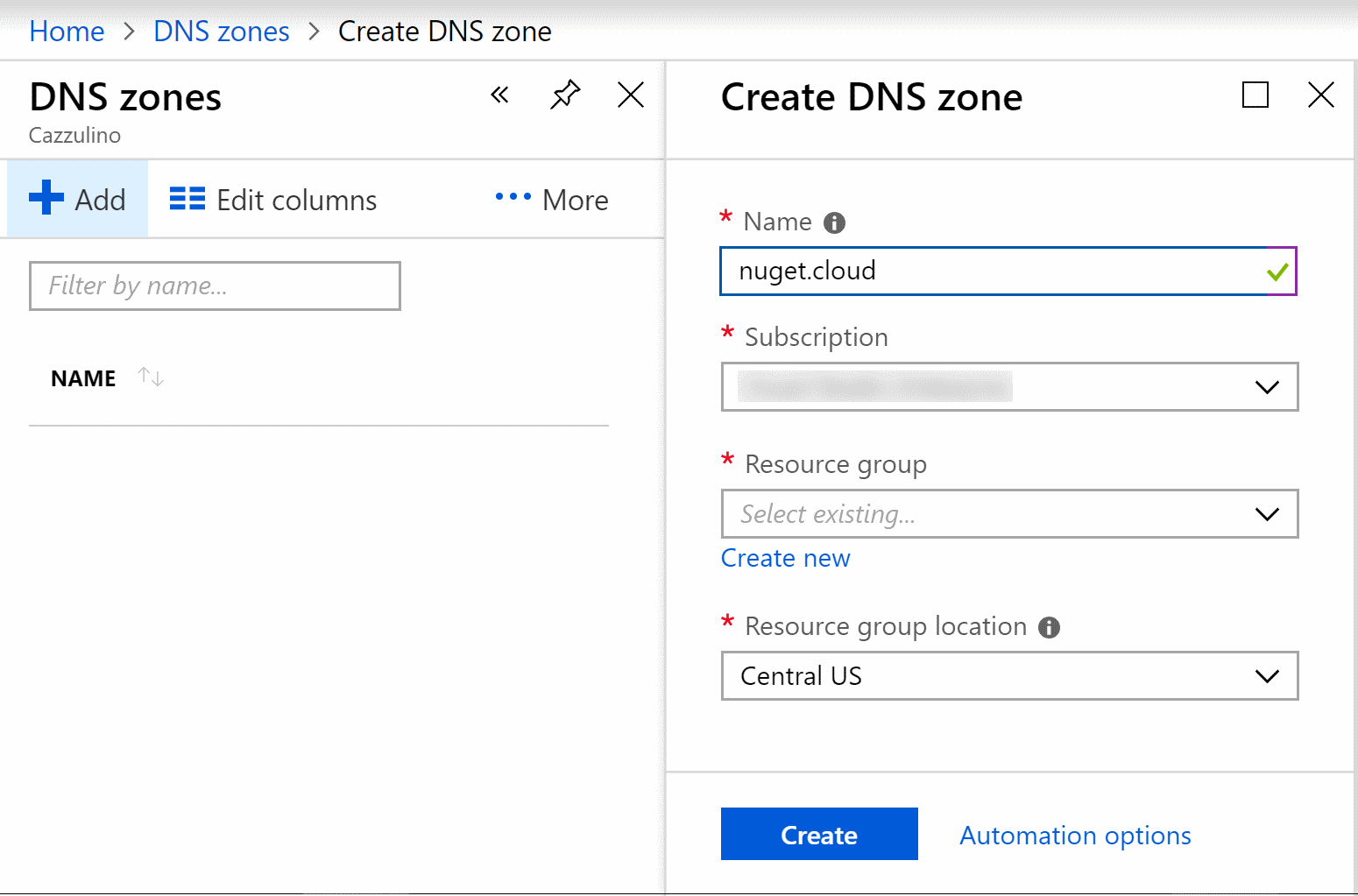 create DNS zone