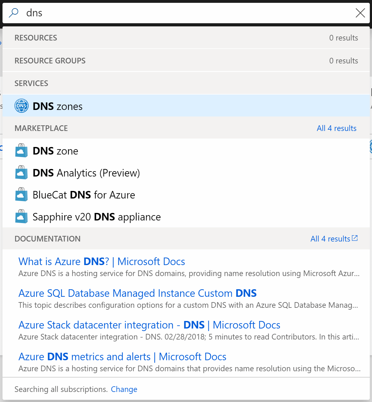 search DNS in azure portal